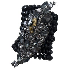 Black Stone and Crystal Wide Stretch Bracelet