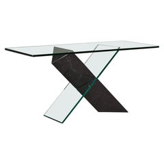 Black Stone and Glass Console Table Designed by Reflex, 1980s