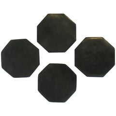Black Stone Octagonal Cocktail or Drinks Coaster Set