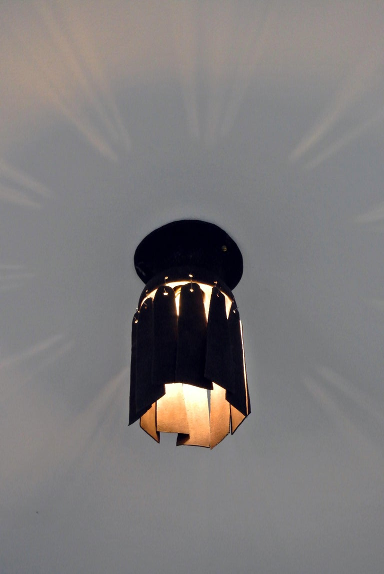 German Black Stoneware Ceiling Lamp with Petal Shade and Black Matte Glaze For Sale
