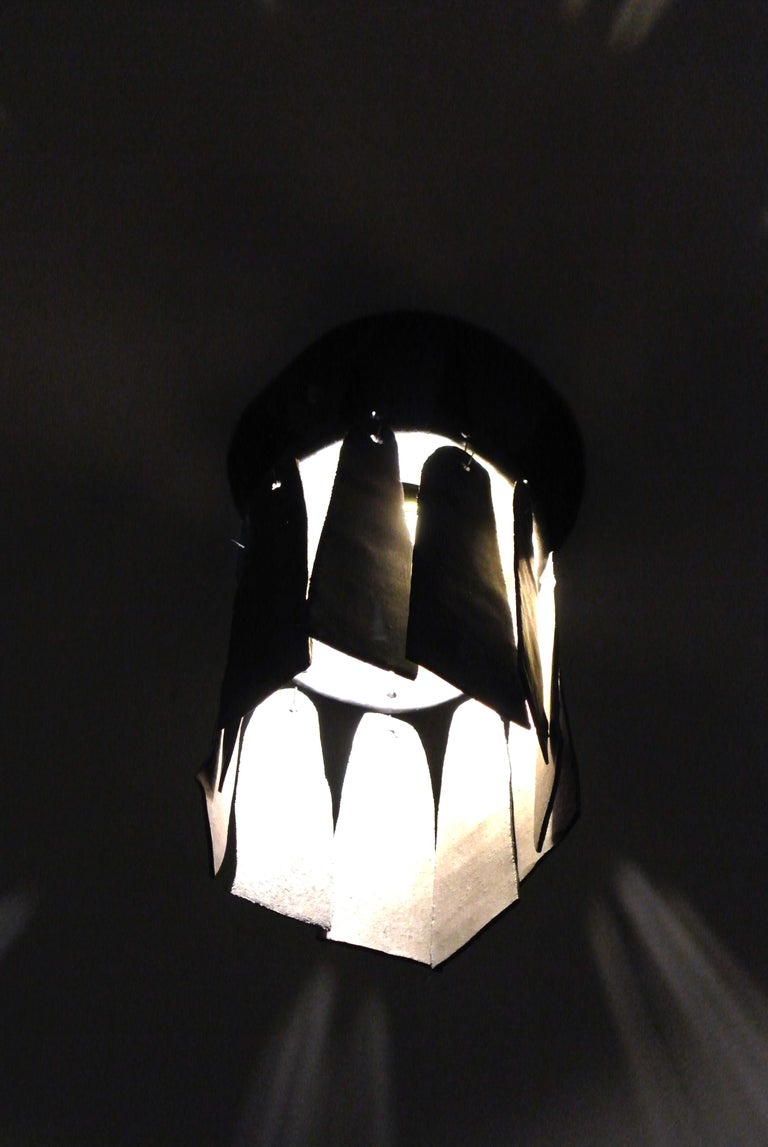Hand-Crafted Black Stoneware Ceiling Lamp with Petal Shade and Black Matte Glaze For Sale