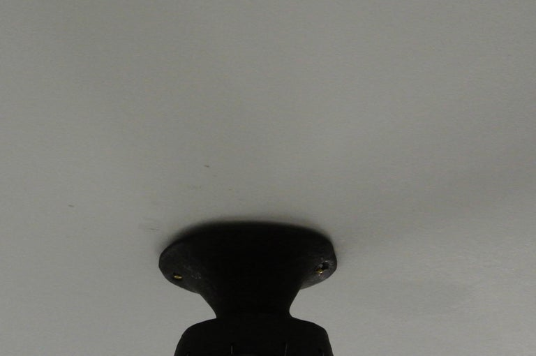 Black Stoneware Ceiling Lamp with Petal Shade and Black Matte Glaze In New Condition For Sale In Berlin, DE