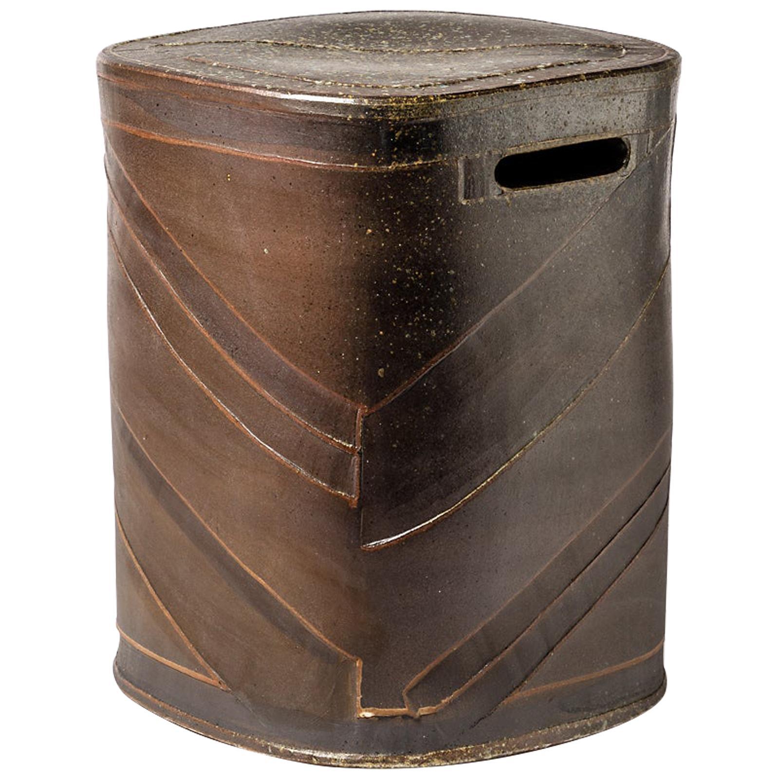 Black Stoneware Ceramic Stool by Roz Herrin La Borne Decoration Table 10/11