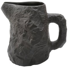 Black Stoneware Mug Slip-Cast from Hand Carved Plaster Models