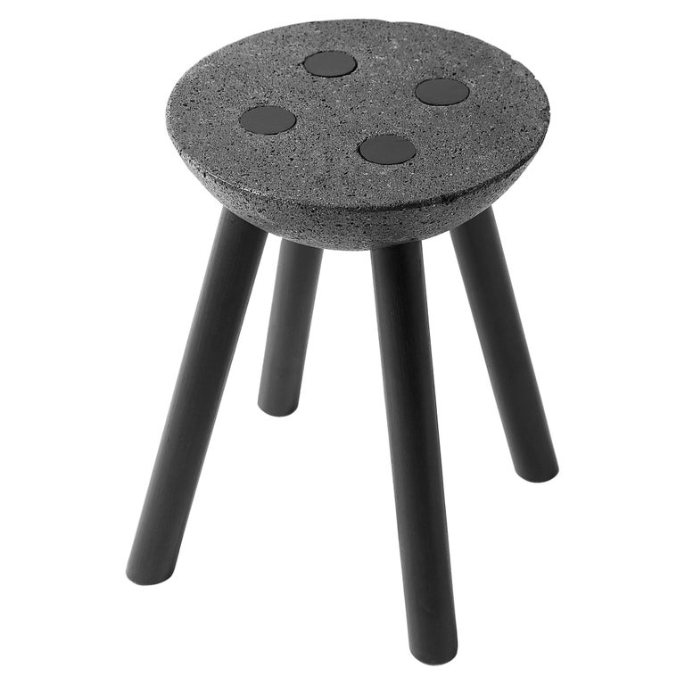Black Stool with Wooden Legs and Basalt Seat by Cooperativa Panorámica  For Sale