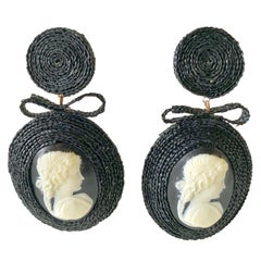 Black Straw Bow and Cameo French Statement Earrings