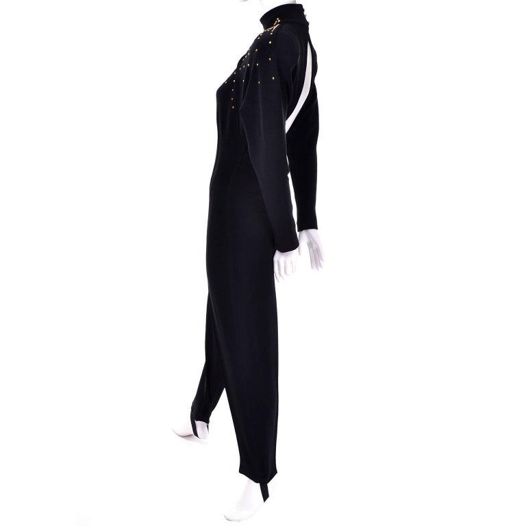 Black Studded Tadashi Vintage Jumpsuit With Stirrups & Keyhole Openings Medium For Sale 1