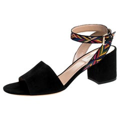 Black Suede And Multicolor Embroidered Fabric Strap Block Heel Sandals Size 38.5