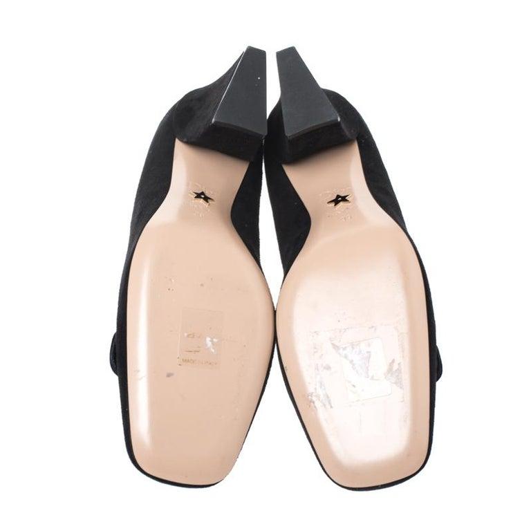 Women's Black Suede C'est Dior Block Heel Pumps Size 39 For Sale