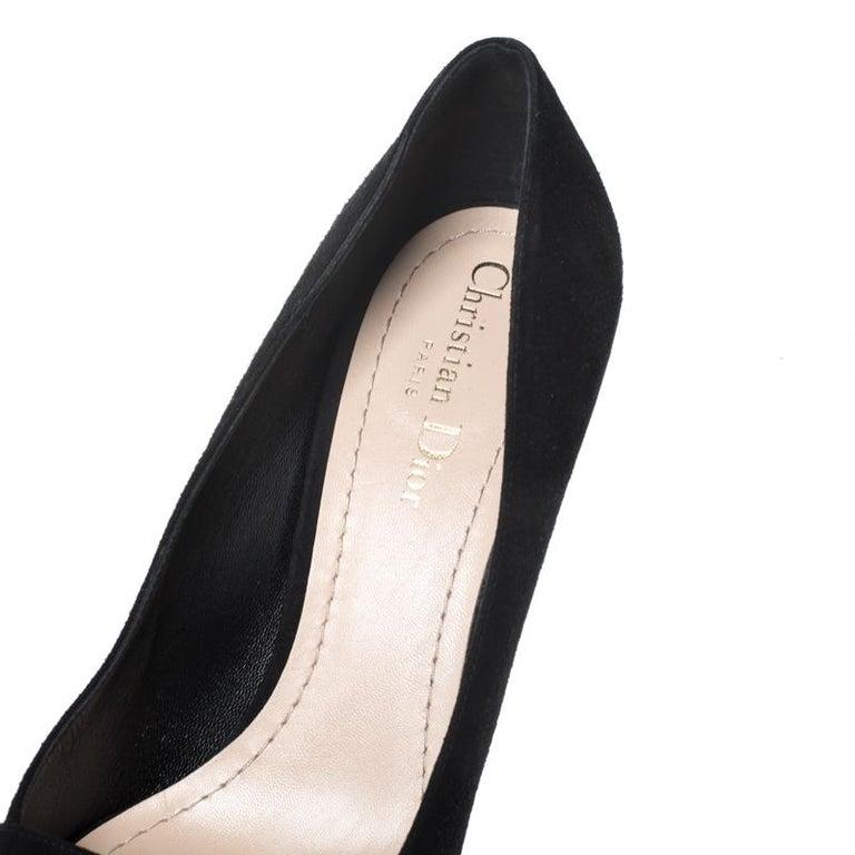 Black Suede C'est Dior Block Heel Pumps Size 39 For Sale 1