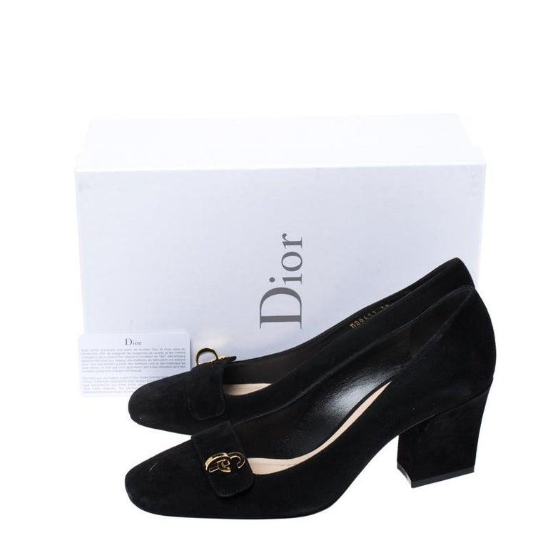 Black Suede C'est Dior Block Heel Pumps Size 39 For Sale 4