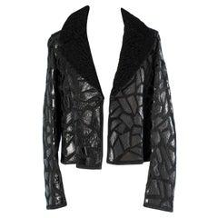 Black suede jacket with black croco applications fur collar Shiro