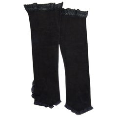Black Suede Long Fingerless Gloves with Lace Trim