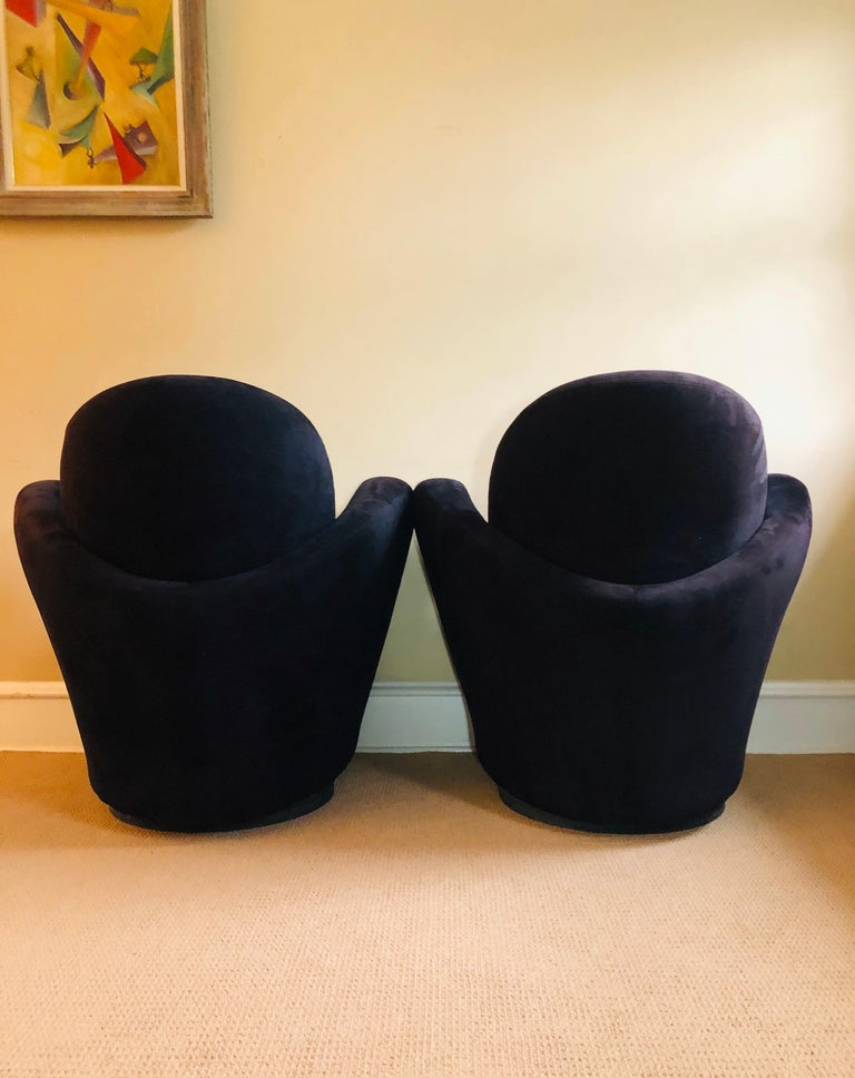 These beauties are in truly excellent condition, with essentially no wear to upholstery, circa 1997. They swivel smoothly and quietly. Extremely comfortable. Deco lines. Some of the finest chairs we have seen.  Please message for a private shipping