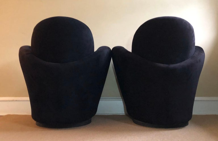American Black Suede Swivel Chairs by Vladimir Kagan for Directional