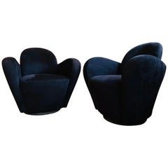 Black Suede Swivel Chairs by Vladimir Kagan for Directional