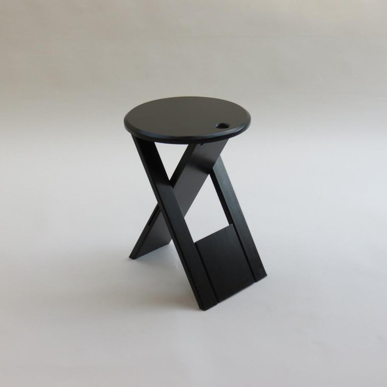 Mid-Century Modern Black Suzy Folding Stool by Adrian Reed for Princes Design Works