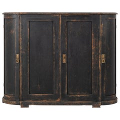 Black Swedish Curved Sideboard in Gustavian Style