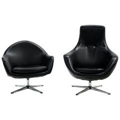 Black Swivel Chairs by Overman, One High Back, One Standard, Ready to Use, Pair