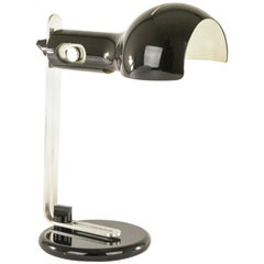 Black Table Lamp model Flash by Joe Colombo for O-Luce, 1970