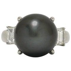 Black Tahitian Pearl 3-Stone 1 Carat Diamond Platinum Trinity Cocktail Ring