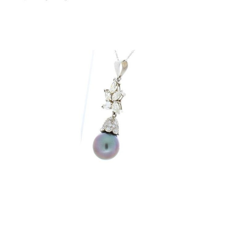 Contemporary Black Tahitian Pearl and 1.71 Carat Total Pear Shaped Diamond Pendant For Sale