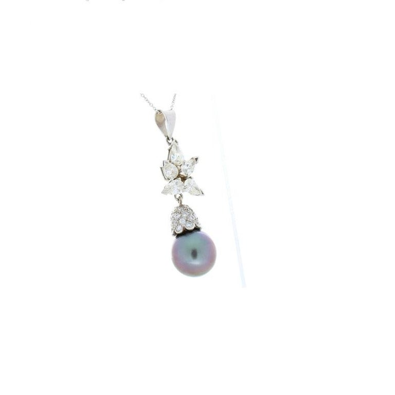 Round Cut Black Tahitian Pearl and 1.71 Carat Total Pear Shaped Diamond Pendant For Sale
