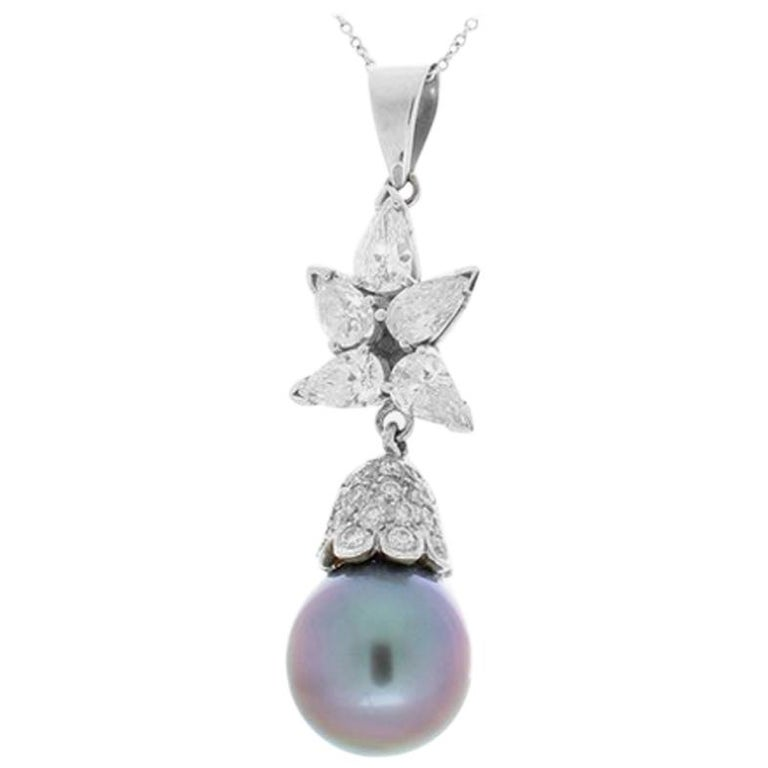 Black Tahitian Pearl and 1.71 Carat Total Pear Shaped Diamond Pendant For Sale