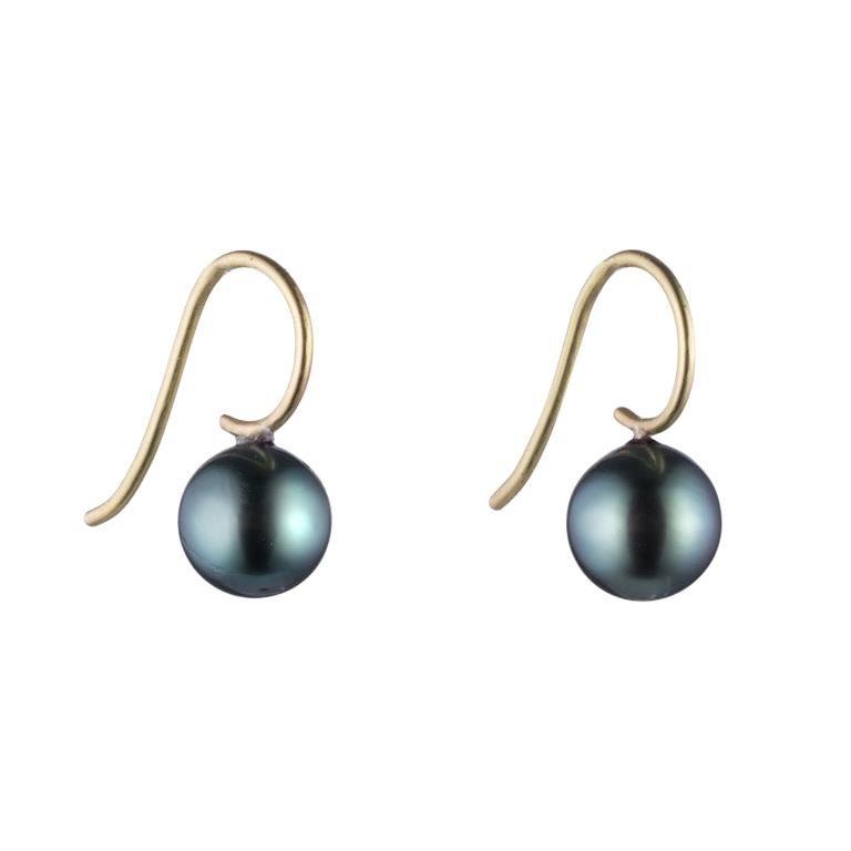 Black Tahitian Pearl and 18 Karat Gold Earring For Sale