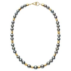Susan Lister Locke 18-inch Black Tahitian Pearl and 18 Karat Gold Tube Necklace