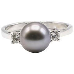 Black Tahitian Pearl and Diamond Cocktail Ring 14 Karat White Gold