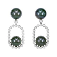 Black Tahitian Pearl and Diamond Earring