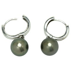 Black Tahitian Pearl Dangle Earrings Drop Silver Large Lever Back