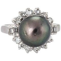Black Tahitian Pearl Diamond Ring South Sea Estate Platinum Jewelry