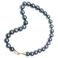 Gabrielle Sanchez Black Tahitian Pearl Necklace with 18 Karat Cone Hk-and-Eye