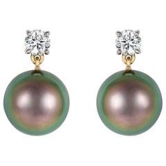 Black Tahitian Pearl, White Diamond Gold Drop Earrings