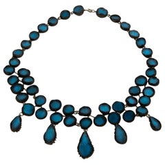 Black Talosel Necklace Incrusted with Ocean Blue Mirrors, Line Vautrin, France