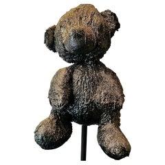 Black TAR and Gold glitter Teddy Sculpture, 21st Century by Mattia Biagi
