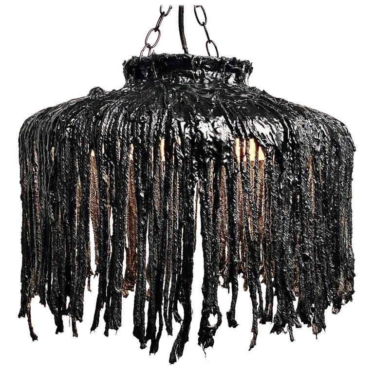 Black Tar Ceiling Lamp or Sculpture, 21st Century by Mattia Biagi For Sale