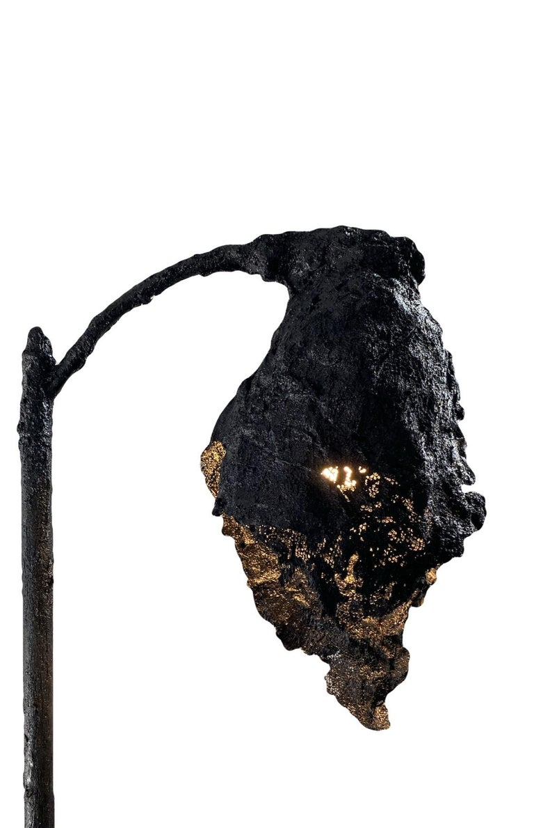 American Black TAR Floor Lamp or Sculpture, 21st Century by Mattia Biagi For Sale