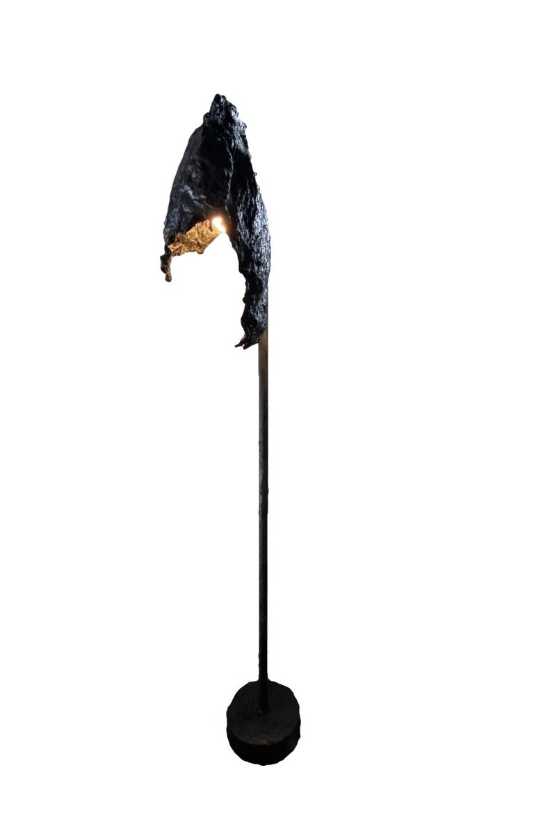 Black TAR Floor Lamp or Sculpture, 21st Century by Mattia Biagi In New Condition For Sale In Culver City, CA