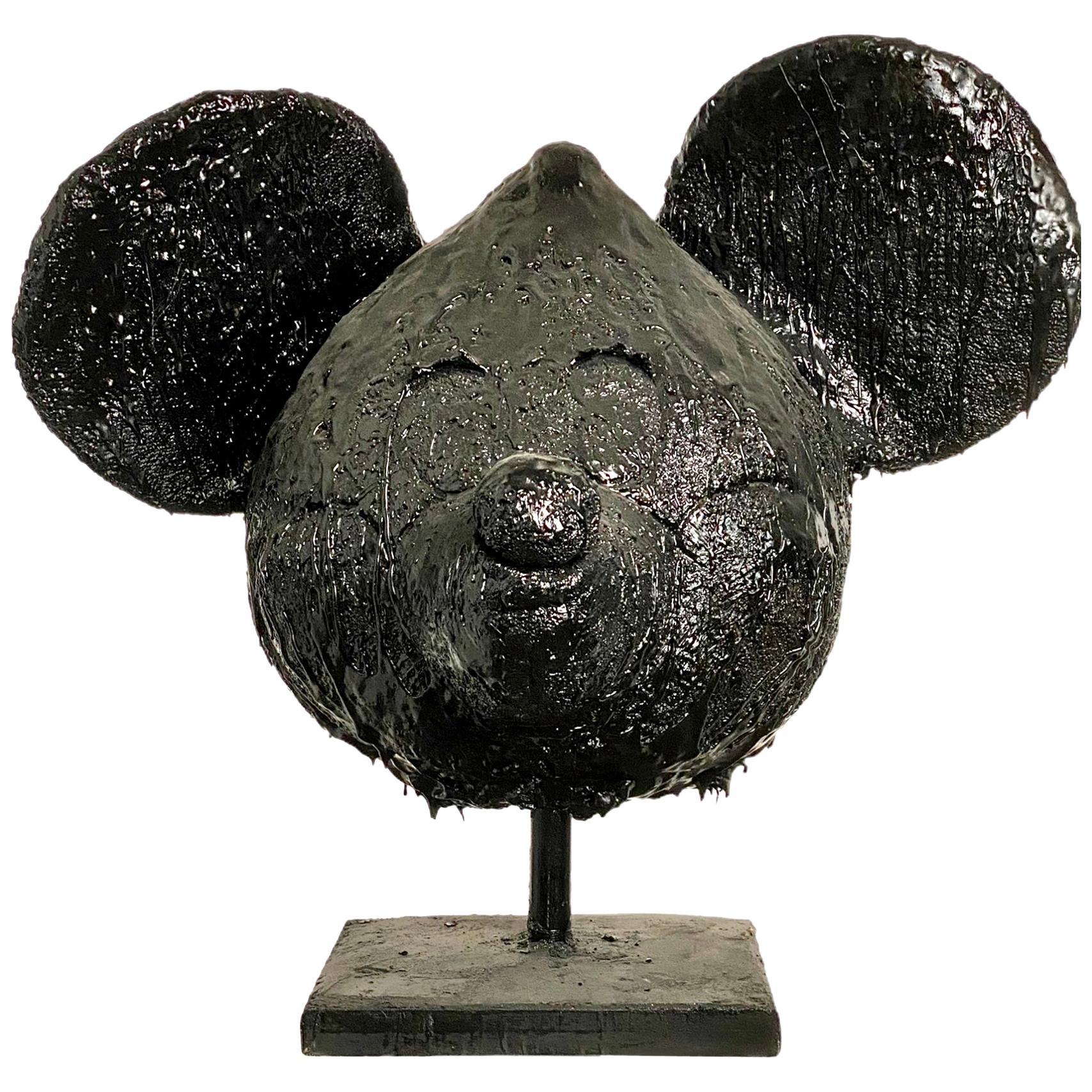 Black TAR Mickey Mouse Head Sculpture, 21st Century by Mattia Biagi
