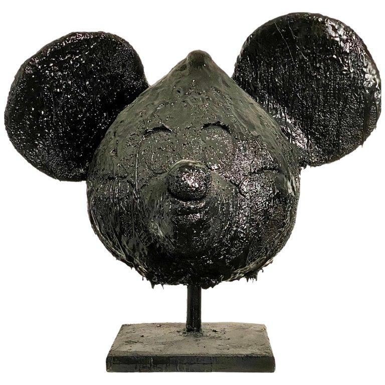 Black TAR Mickey Mouse Head Sculpture, 21st Century by Mattia Biagi For Sale