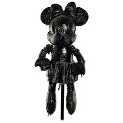 Black TAR Minnie Mouse Sculpture, 21st Century by Mattia Biagi