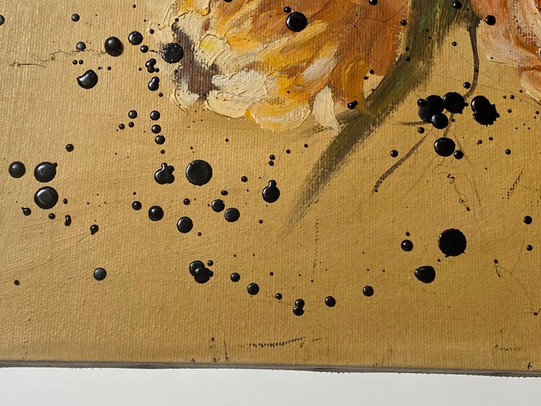 Black Tar on Vintage Flower Painting, 21st Century by Mattia Biagi In New Condition For Sale In Culver City, CA