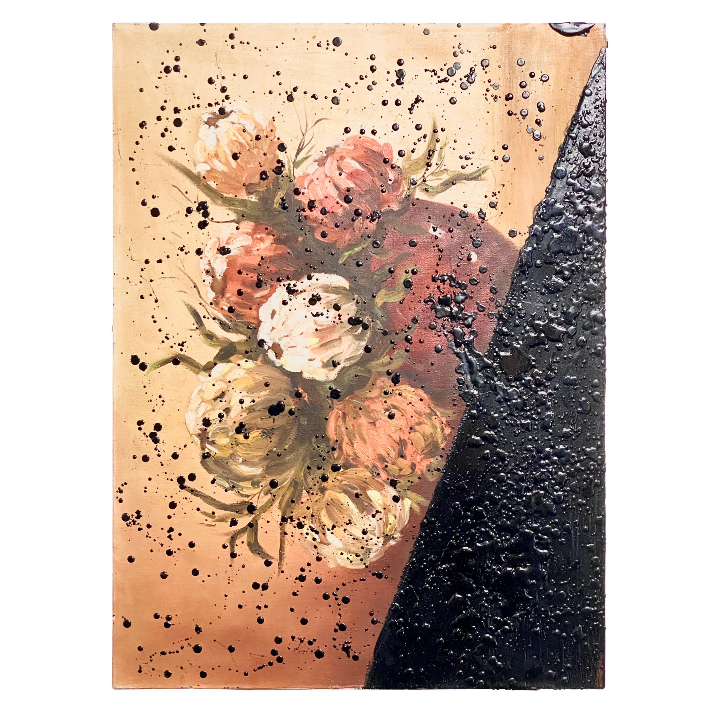 Black Tar on Vintage Flower Painting, 21st Century by Mattia Biagi