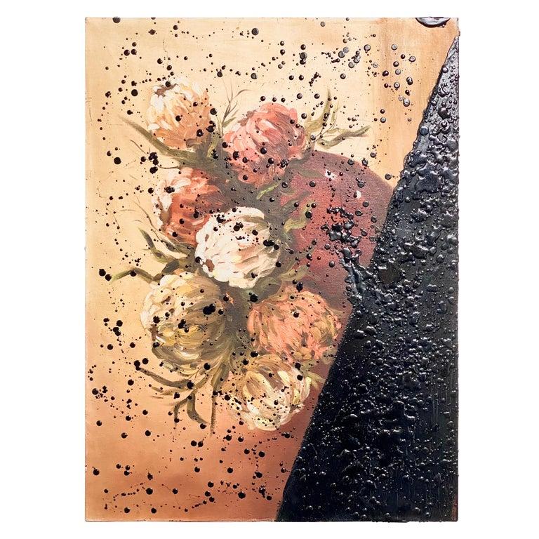 Black Tar on Vintage Flower Painting, 21st Century by Mattia Biagi For Sale
