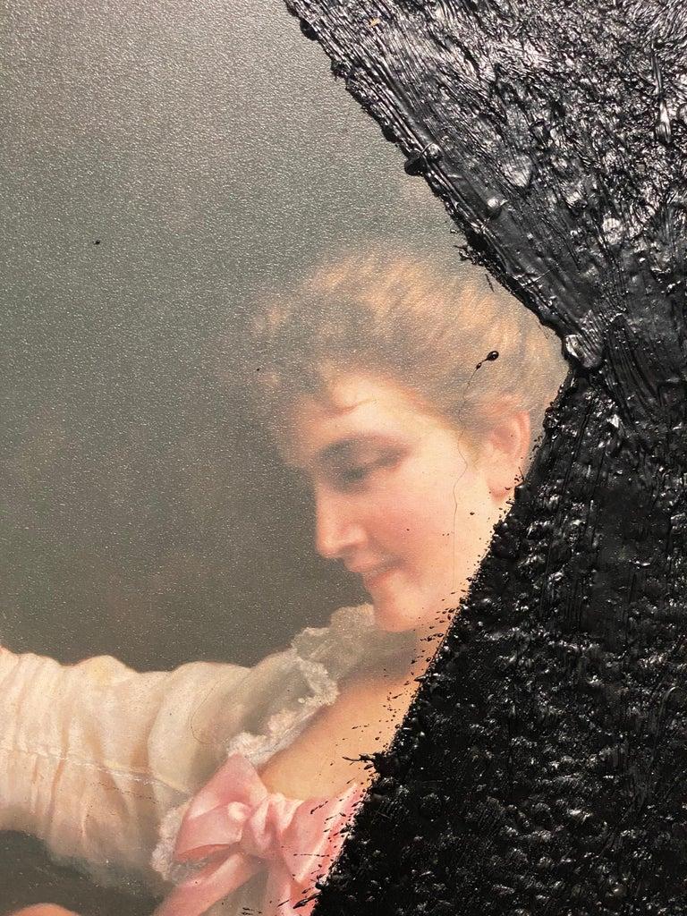 American Black Tar on Vintage Painting, 21st Century by Mattia Biagi For Sale