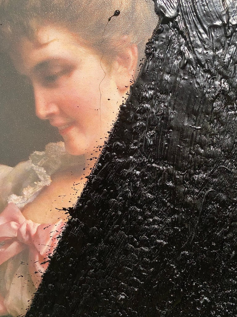 Contemporary Black Tar on Vintage Painting, 21st Century by Mattia Biagi For Sale