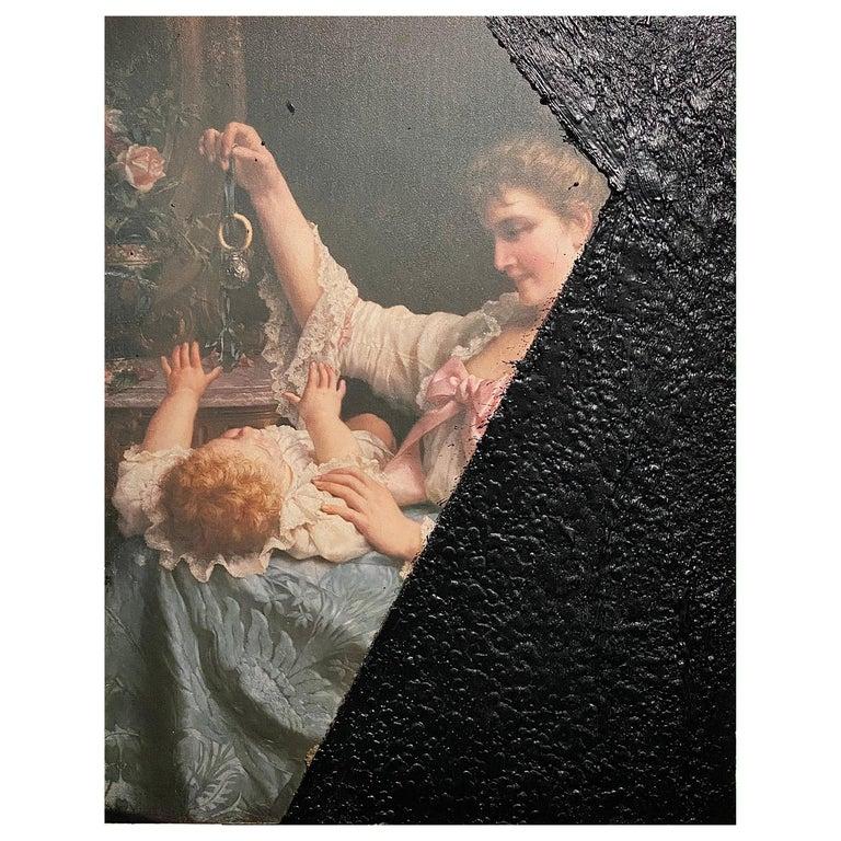 Black Tar on Vintage Painting, 21st Century by Mattia Biagi For Sale